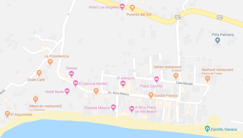 in Zipolite - My Trip to Mexico's only Nudist Beach on roca blanca mexico map, la penita mexico map, wahaca mexico map, airport codes mexico map, isla mujeres mexico map, guadalajara mexico map, toluca mexico map, barra de potosi mexico map, valle de bravo mexico map, california mexico map, excellence resorts mexico map, san miguel de allende mexico map, sea of cortez mexico map, playa del carmen mexico map, playa mujeres mexico map, la playa mexico map, ayotzinapa mexico map, colima volcano mexico map, chilapa mexico map, ciudad del carmen mexico map,