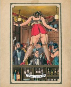 Felix D'Eon painting of a gay woman on a bar